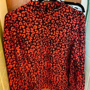 NWOT red & black leopard blouse